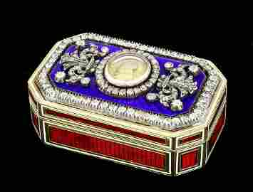 A good George IV 18ct gold enamel and diamond set octag