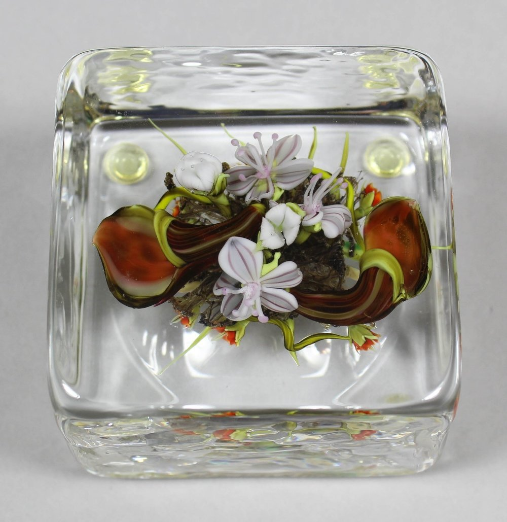 """A Paul Stankard square glass paperweight - """"M34""""- With"""