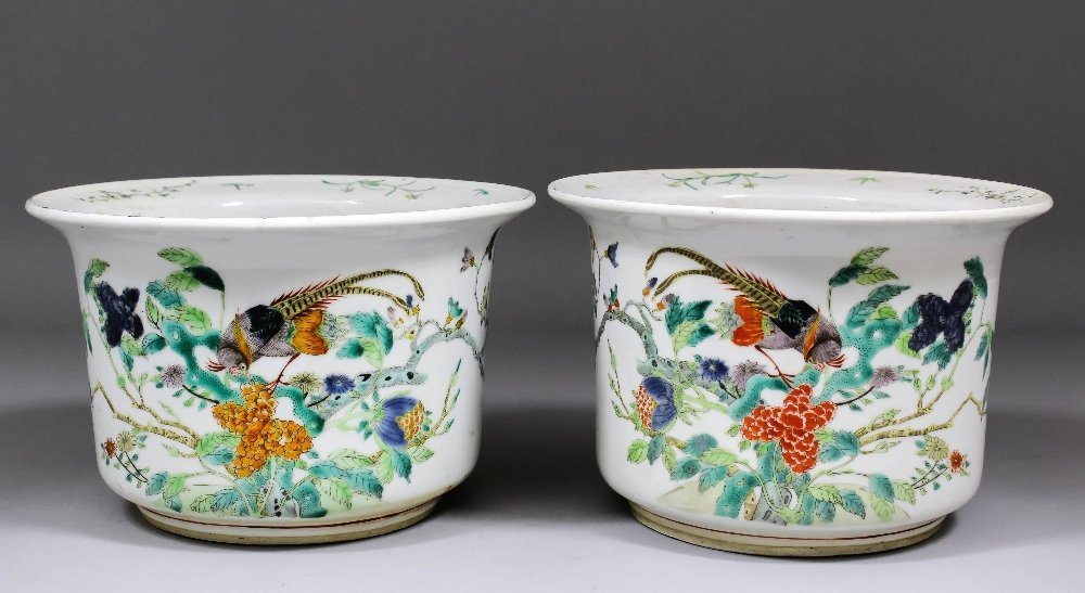 "A pair of Chinese ""Famille Verte"" porcelain jardinières"