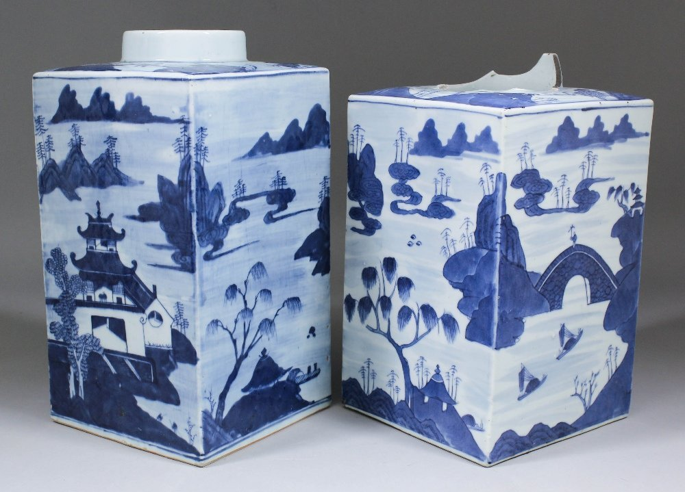 Two Chinese blue and white porcelain square vases paint