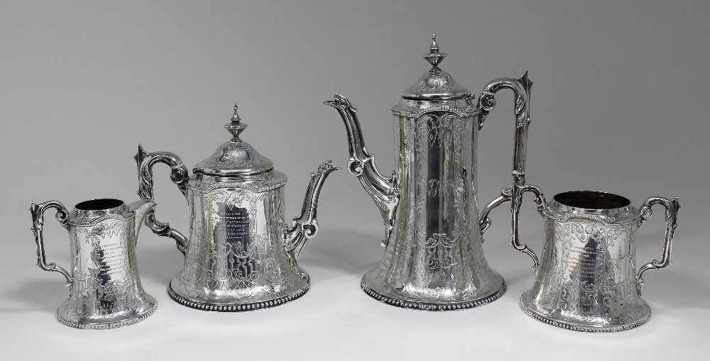 An early Victorian silver four piece tea and coffee