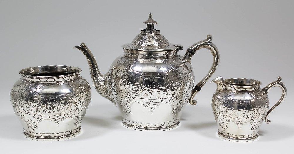 A Victorian Scottish silver three piece tea service,