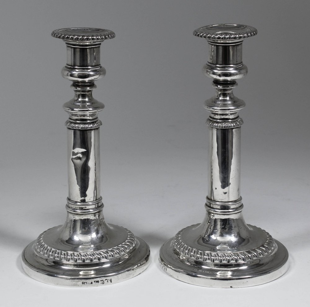 A pair of early Victorian silver telescopic pillar