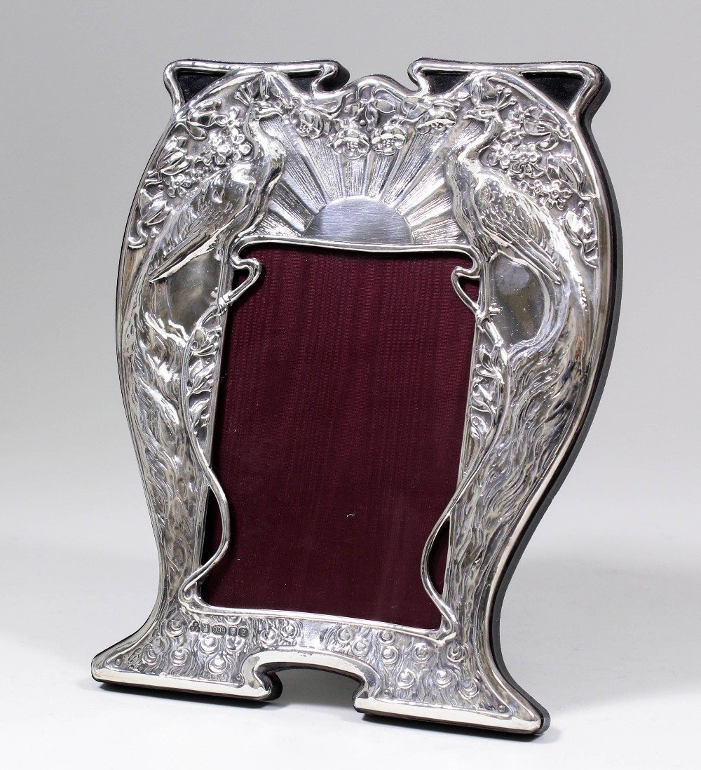 An Elizabeth II silver photograph frame of Art Nouveau
