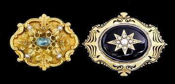 A late Victorian gold coloured metal mounted enamel