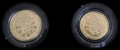 An Elizabeth II 1989 gold Proof two coin set comprising