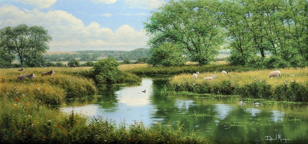 David Morgan (b. 1947) - Oil painting - Landscape with