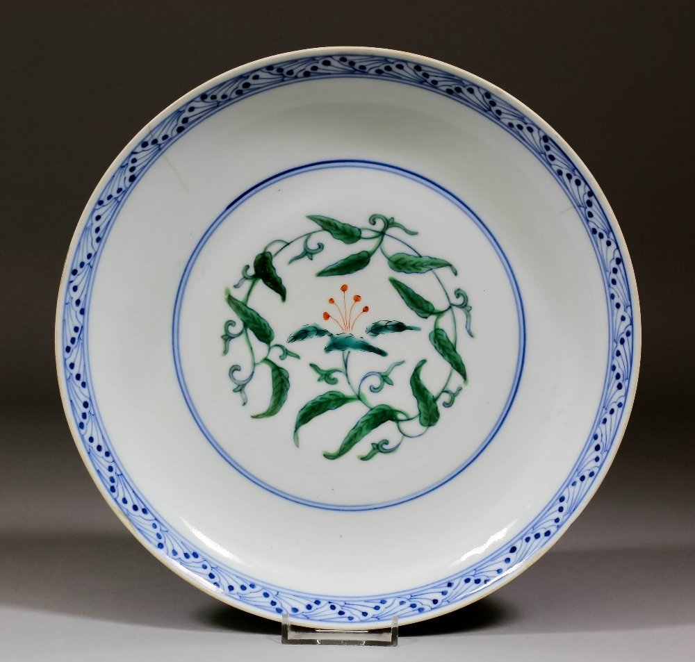 An unusual Chinese porcelain Doucai dish painted to