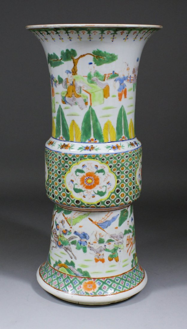 A Chinese porcelain Gu vase, the exterior enamelled in
