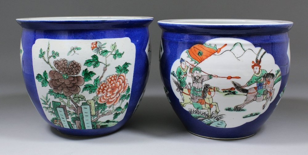 Two Chinese porcelain circular jardinieres with flat