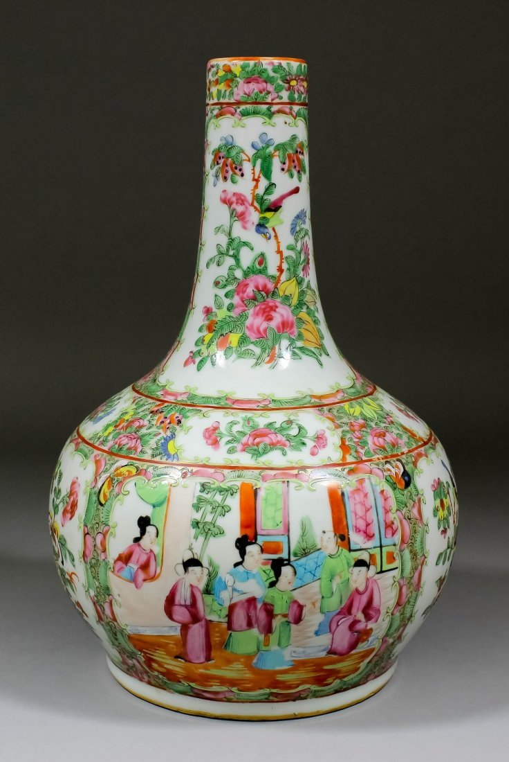 "A Chinese ""Cantonese"" porcelain bottle shaped vase"
