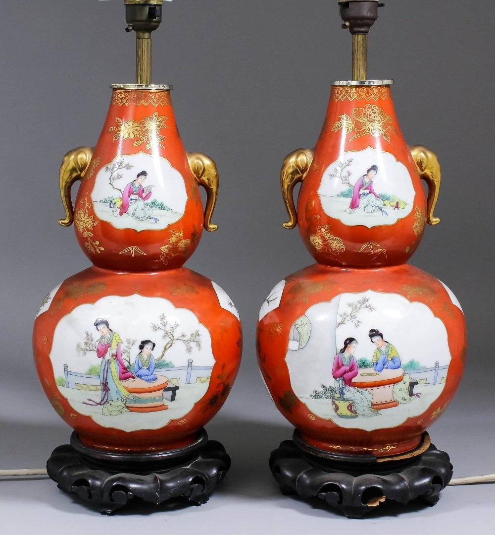 A pair of Chinese red and white porcelain double gourd