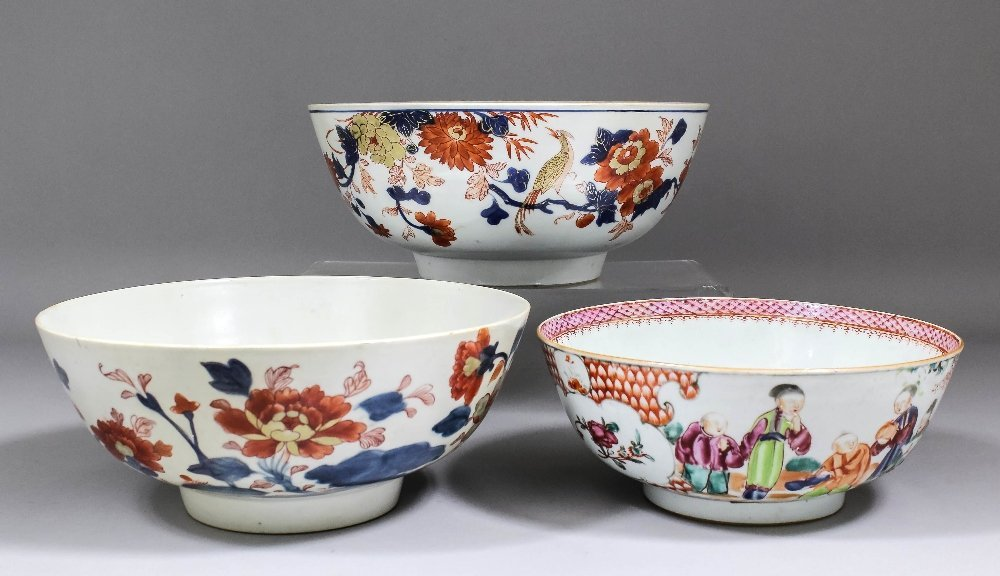 Two Chinese porcelain punch bowls painted in the