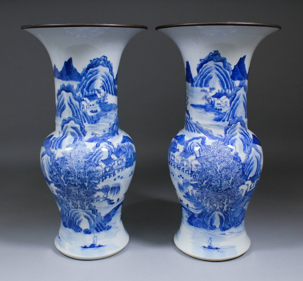 """A pair of Chinese blue and white porcelain """"Yen Yen"""""""