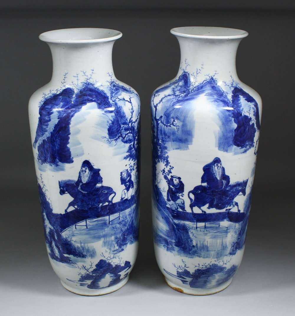 A pair of Chinese blue and white porcelain slender
