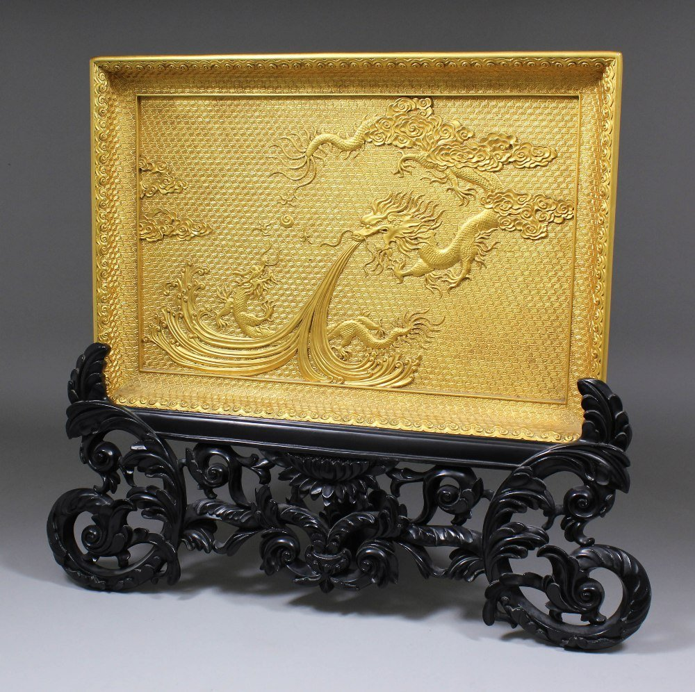 A Chinese gilt finish lacquer rectangular tray, the