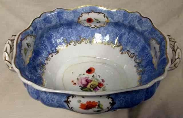 2: 19th century English porcelain tureen of shaped rect