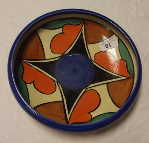 19: Clarice Cliff Bizarre circular fruit bowl decorated