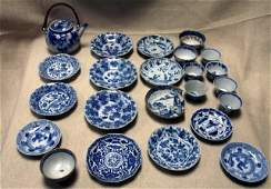 54: Collection of late 19th century Chinese blue and wh