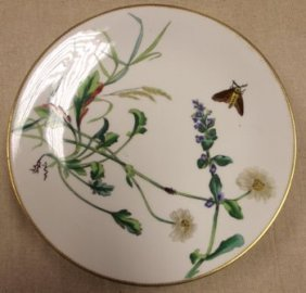 Set Of Five Mintons Plates Painted With Flowers And Ins