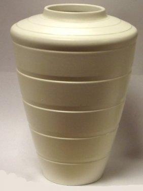 Keith Murray Wedgwood cream glazed vase of tapered form