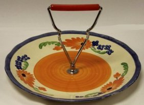 Clarice Cliff Bizarre cake plate with chrome and plasti