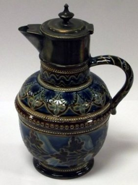 Doulton Lambeth Stoneware Jug With Incised Decoration,