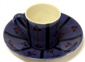 Moorcroft Florian Ware coffee cup and saucer, impressed
