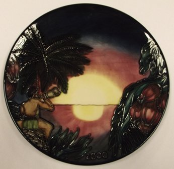 Moorcroft 'Birth of Light' Millennium plate, 9in. dia.