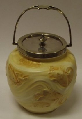Moorcroft Macintyre Biscuit Barrel, Moulded With Fish,