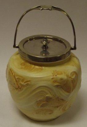 Moorcroft Macintyre biscuit barrel, moulded with fish,