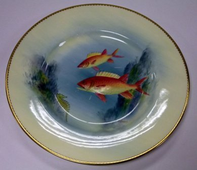 Pair of Royal Worcester plates decoration with fish, si