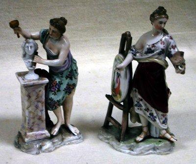 Pair of Meissen style figures, artist and sculptor, blu