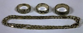 Silver propelling pencil, three silver rings and a silv