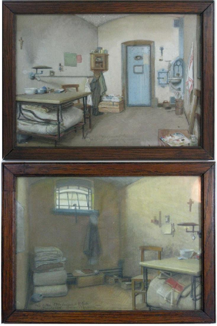 2 GEORGES BRASSEUR WWI PRISON CELL DRAWINGS