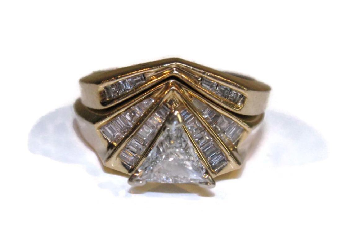 14K GOLD RINGS TRILLION & BAGUETTE DIAMONDS