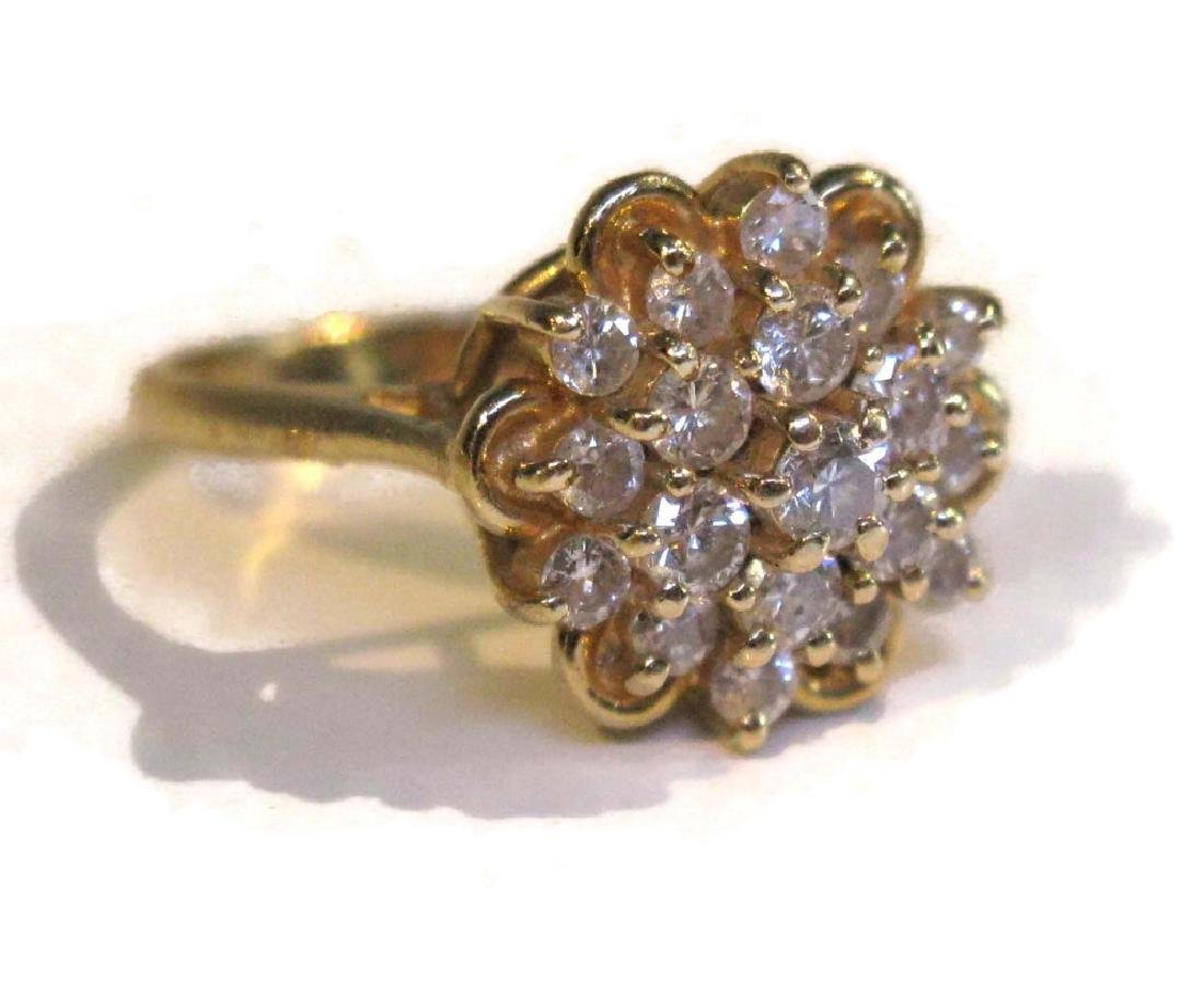 VINTAGE 14K GOLD AND DIAMOND CLUSTER RING