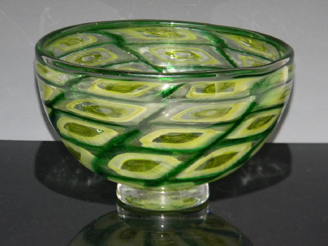 BRYAN GOLDENBERG GREEN ART GLASS PEDESTAL BOWL / VASE