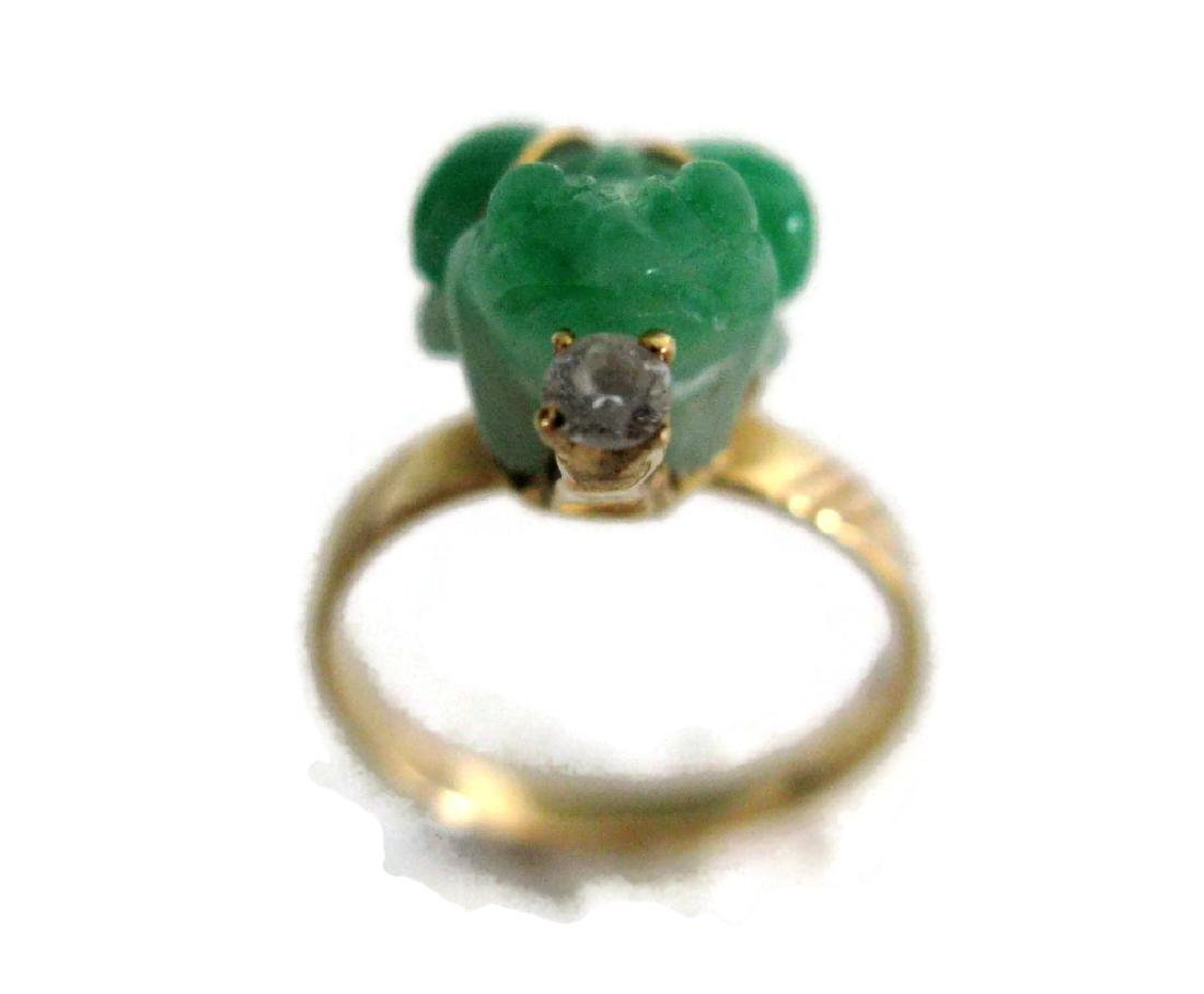 18K YELLOW RING LUCKY GREEN FROG RING - 4