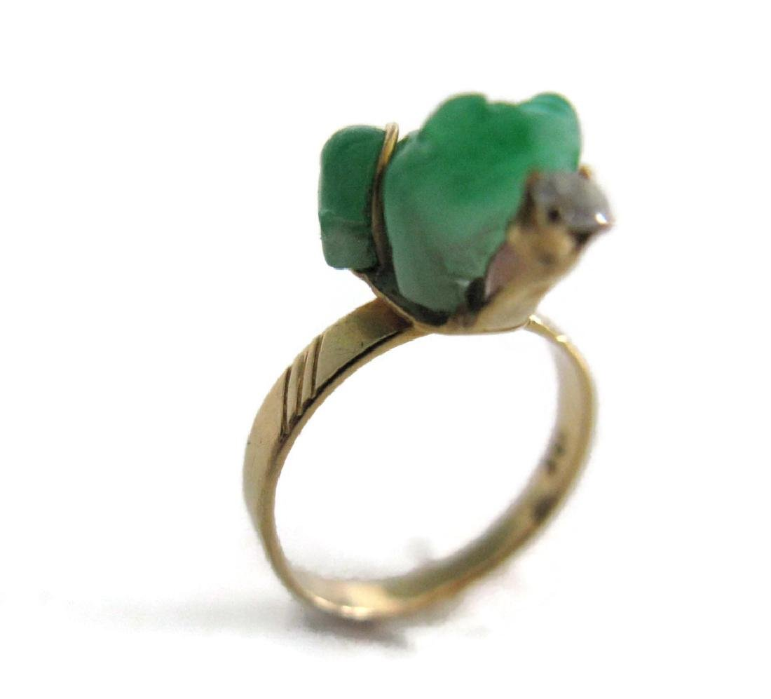 18K YELLOW RING LUCKY GREEN FROG RING - 5