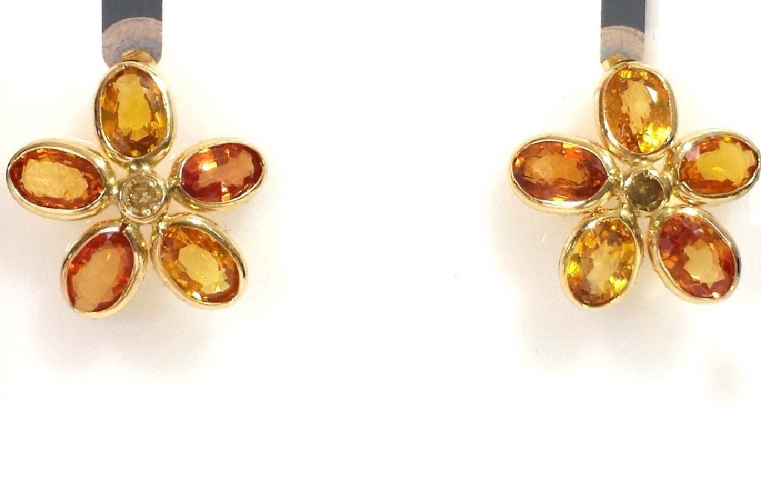 14K GOLD EARRINGS WITH ORANGE SAPPHIRE & DIAMONDS