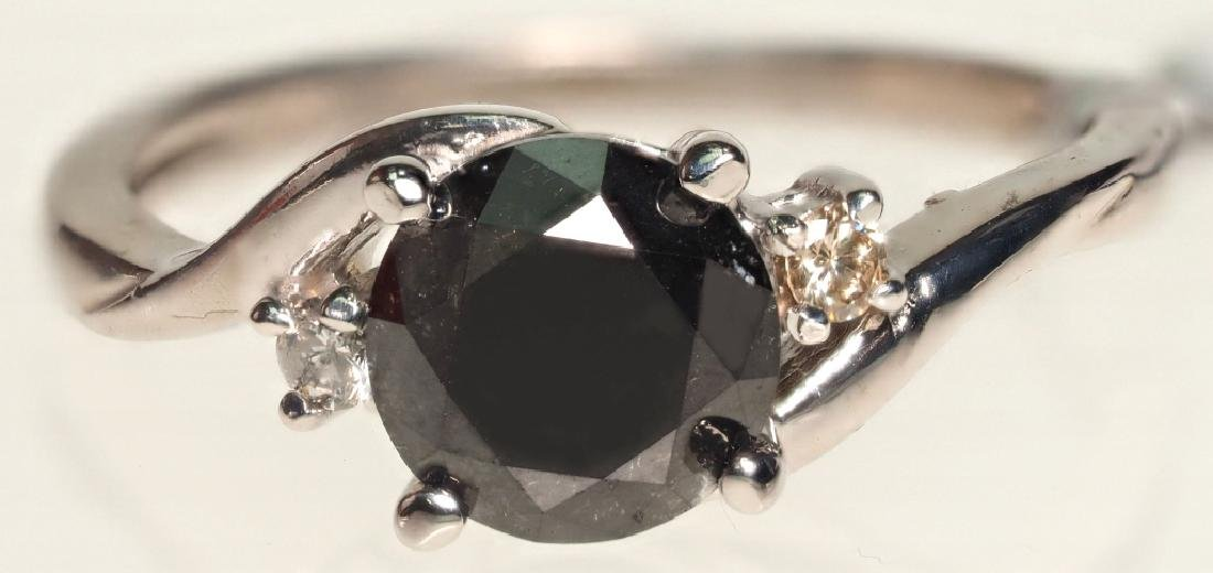 14K WHITE GOLD RING WITH BLACK DIAMOND 1.8 CARATS