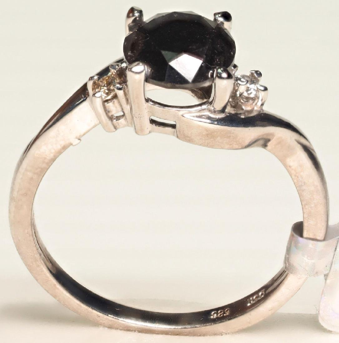 14K WHITE GOLD RING WITH BLACK DIAMOND 1.8 CARATS - 2
