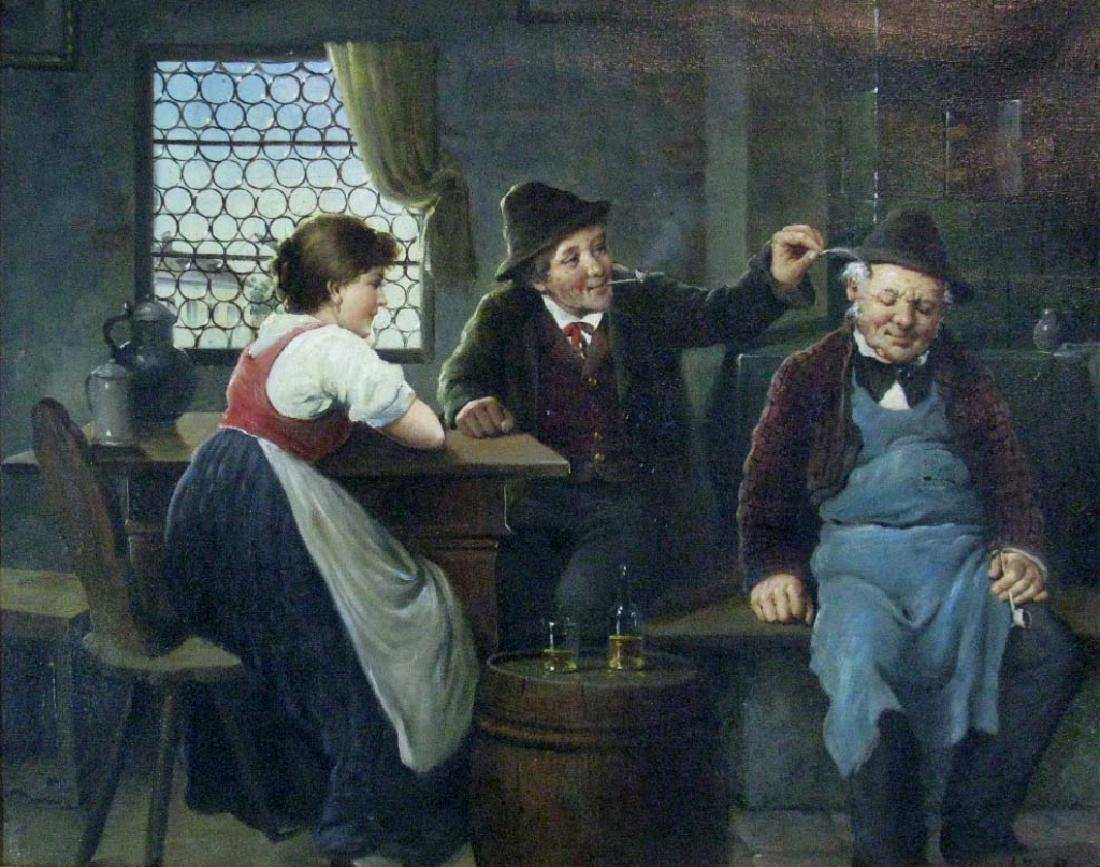 KLINGSBOGL OIL ON CANVAS HUMOROUS GENRE SCENE