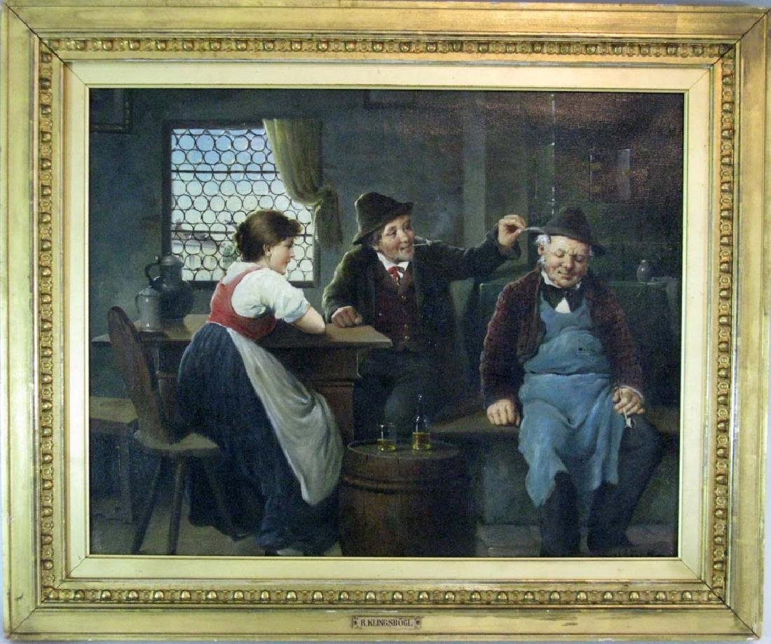KLINGSBOGL OIL ON CANVAS HUMOROUS GENRE SCENE - 2