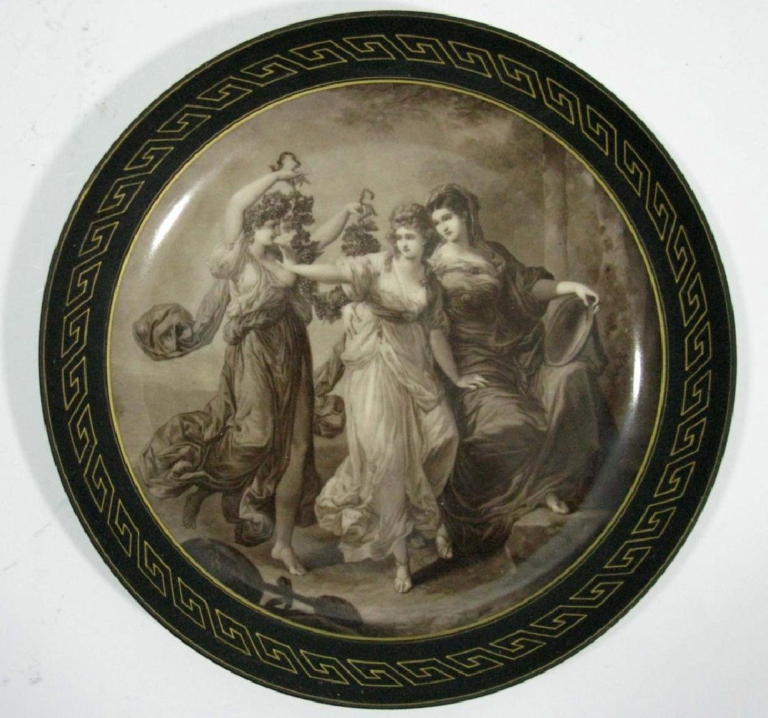 FRENCH PORELAIN PLATE / LOW BOWL EN GRISAILLE THRE