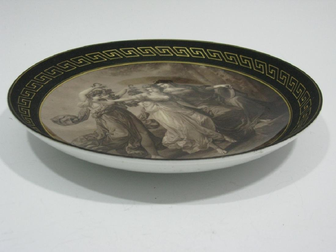FRENCH PORELAIN PLATE / LOW BOWL EN GRISAILLE THRE - 6