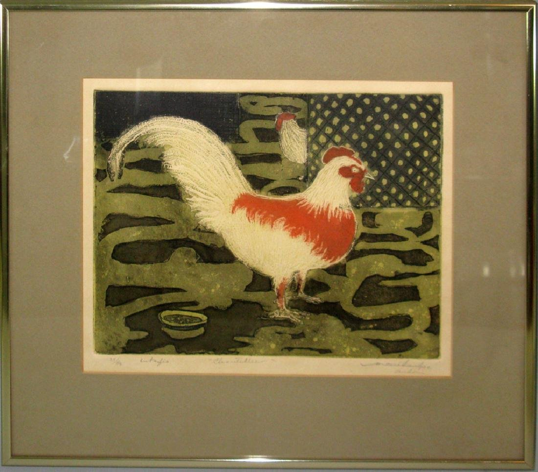 SIGNED MID-CENTURY ROOSTER INTAGLIO ETCHING
