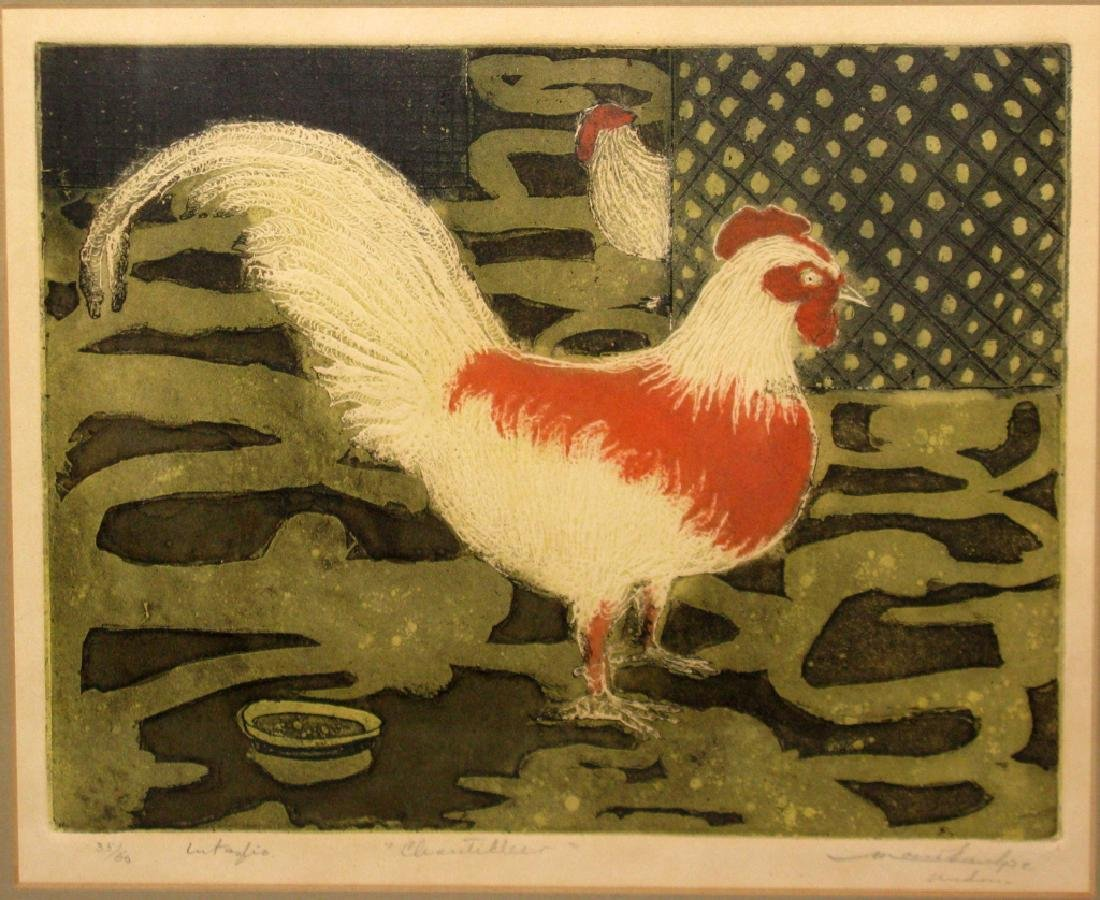 SIGNED MID-CENTURY ROOSTER INTAGLIO ETCHING - 2