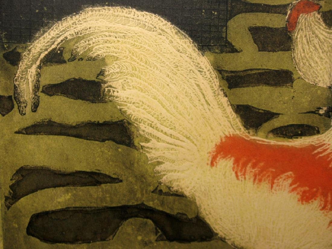SIGNED MID-CENTURY ROOSTER INTAGLIO ETCHING - 4